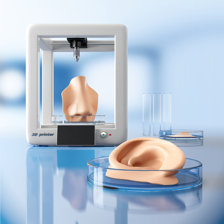 regenerative: Concept of bioprinting of tissues and organs. Human ear and nose ready for transplantation to the patient. 3D illustration. Stock Photo