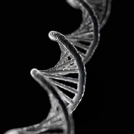 macroscopic: realistic 3D illustration of DNA cell on dark background.