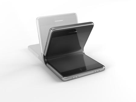 Concept van opvouwbare smartphone. 3D-afbeelding op een witte achtergrond Stockfoto