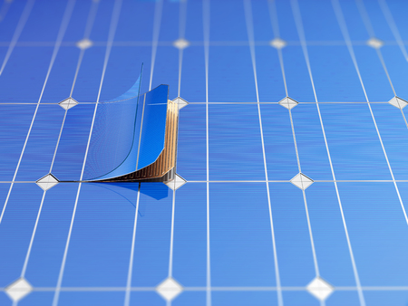 Solar panel and schematic 3D illustration internal structure of the module. Stock fotó