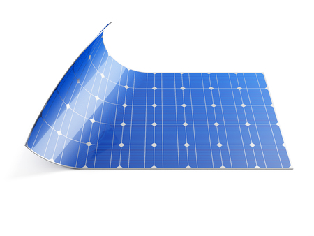 Flexible solar panel isolated on white background. 3D illustration.