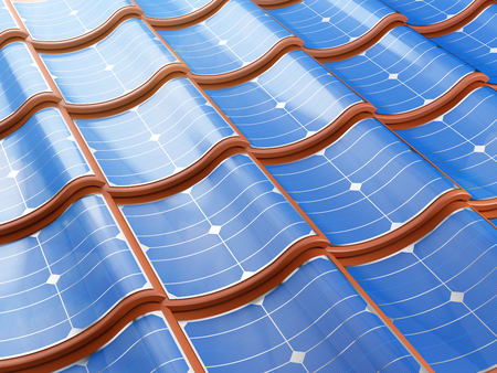 roof shingles: Solar panel integrates into the roof tiles. 3d illustration. Stock Photo