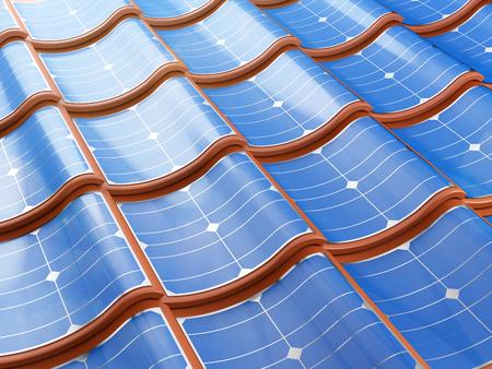 Zonnepaneel integreert in de dakpannen. 3d illustratie.