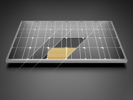 monocrystalline: Solar panel and schematic 3D illustration internal structure of the module. Stock Photo