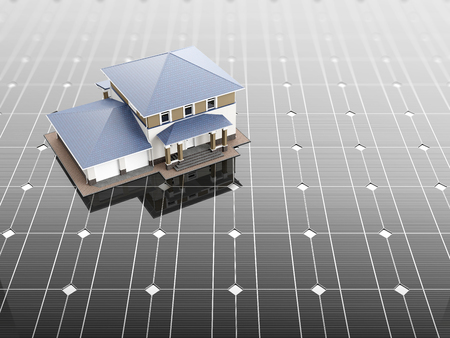 monocrystalline: A scale model of the house stands on the solar panels. 3D illustration.