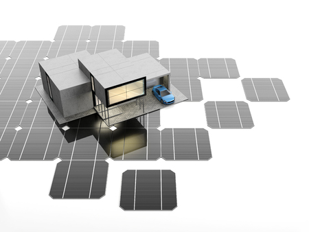 monocrystalline: A scale model of the modern smart house stands on the solar panels. 3D illustration.
