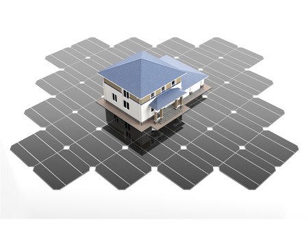 monocrystalline: A scale model of the modern house stands on the solar panels. 3D illustration.