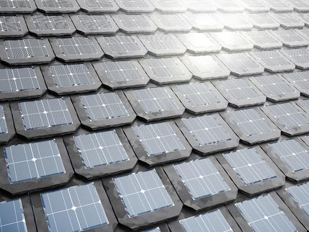 太陽電池パネルは、屋根瓦や帯状疱疹に統合します。3 d イラスト。