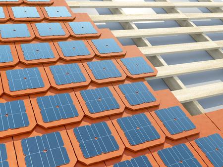 Het leggen van zonne-shingles of tegels op het dak huis. 3D illustratie. Stockfoto