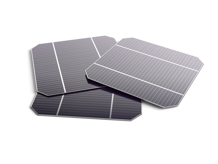 monocrystalline: Several Module of the solar panel isolated on white background. 3D illustration.