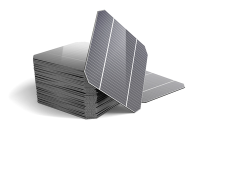 monocrystalline: Set of Modules for the solar panel isolated on white background. 3D illustration. Stock Photo
