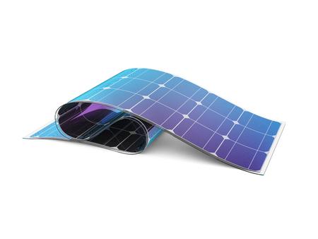 Batteria solare flessibile su sfondo bianco. Illustrazione 3D.