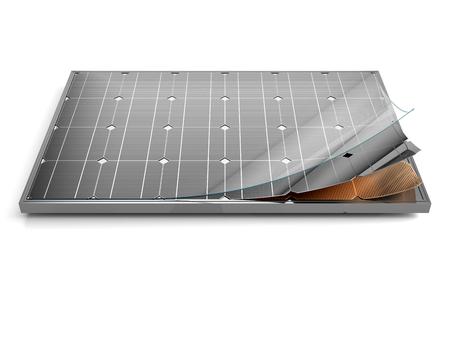 태양 전지 패널 및 개요 3D 그림 모듈의 내부 구조입니다.