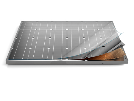 Solar panel and schematic 3D illustration internal structure of the module. Banque d'images