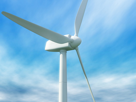 purely: Wind turbine against cloudy blue sky. 3D illustration.
