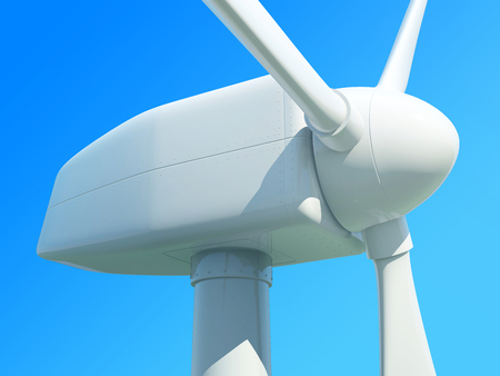 purely: Close up of wind turbine against blue sky. 3D illustration.