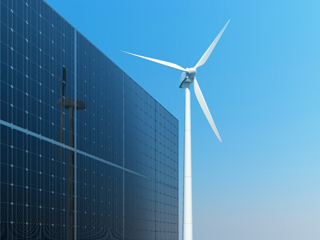 windfarm: Solar panels and wind turbine against clear blue sky. 3D illustration.