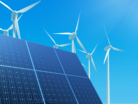purely: Solar panels and wind turbines against clear blue sky. 3D illustration.