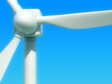 windfarm: Close up of wind turbine against blue sky. Front view. 3D illustration.