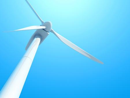 Wind turbine against blue sky. 3D illustration.