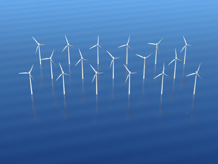 purely: Offshore wind turbine farm. 3D illustration.