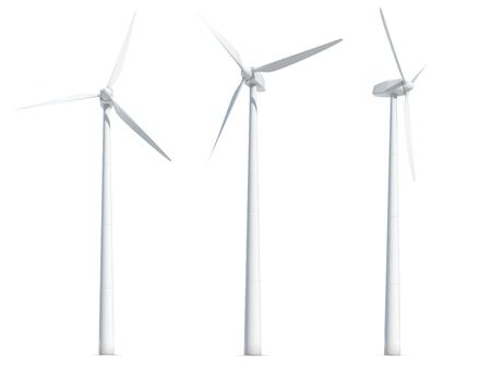 Set van windturbines geïsoleerd op een witte achtergrond. 3D illustratie.