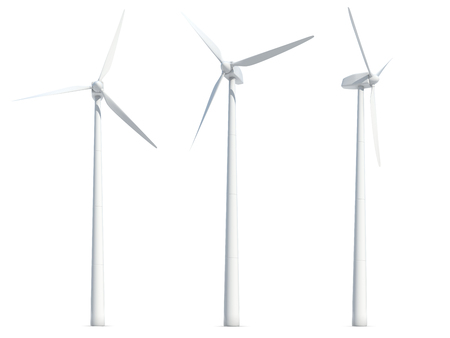 Set of wind turbines isolated on white background. 3D illustration.