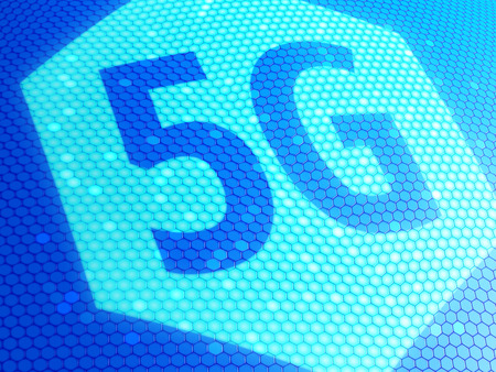 3g: Close up of 5G symbol on display. 3D illustration. Stock Photo