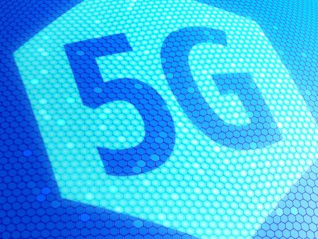 Close up of 5G symbol on display. 3D illustration. Stock Photo