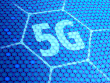 5G symbol on blue digital background. 3D illustration. Banco de Imagens
