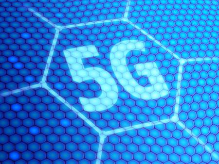 5G symbool op blauwe digitale achtergrond. 3D illustratie. Stockfoto