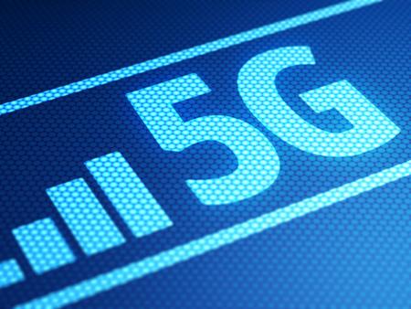 high speed internet: 5G mode on smartphone display, close up. 3D illustration.