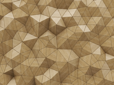 panels: Abstract wooden polygonal background. Triangular mosaic or tiles or wall panels. 3D illustration.