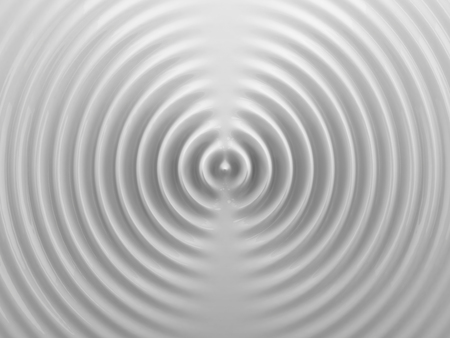 Ripples on a white liquid surface. 3D illustration. Abstract background.