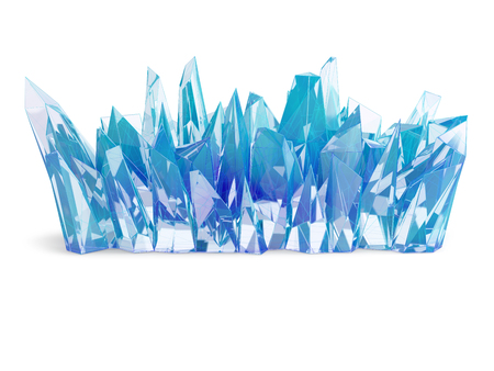 Blue crystals cluster isolated on white background. 3D illustration.