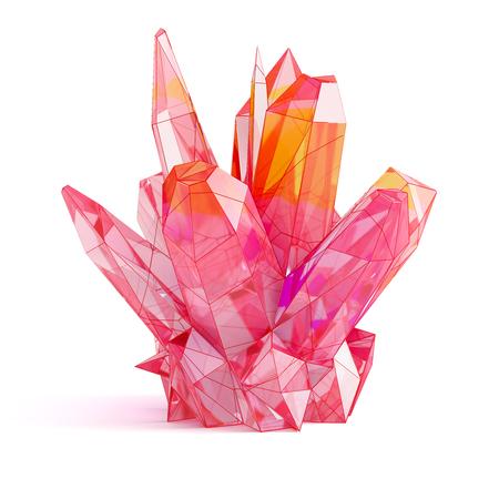 Red gemstone. Geometric crystal isolated on white background. 3D illustration.
