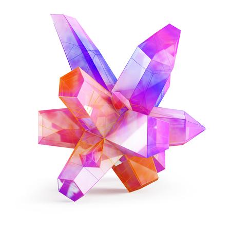 mineral stone: Rainbow crystal stone isolated on white background. 3D illustration. Stock Photo