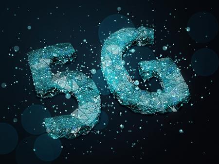 Simbolo 5G con particelle blu su sfondo scuro. Illustrazione 3D. Archivio Fotografico - 74790210