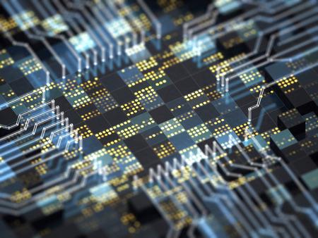 技術の背景を抽象化します。大きなデータ、無線通信、インターネットのことや人工知能の未来的な CPU を搭載した回路基板のクローズ アップ。3 D イラスト。 写真素材 - 80615405