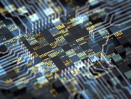 Abstract technology background. Close-up of circuit board with futuristic CPU for big data, wireless communication, internet of things, or artificial intelligence. 3D illustration.