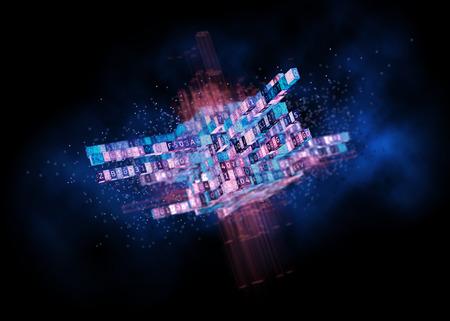 Concetto di Big Data. Cubo digitale con codice di programma per algoritmo di apprendimento automatico o intelligenza artificiale. Illustrazione 3D Archivio Fotografico - 81114819