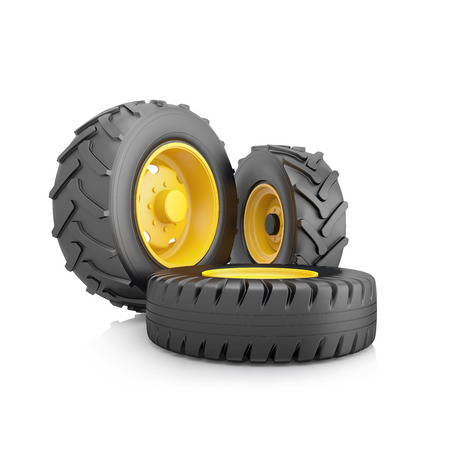 Three wheel for a tractor or truck on white background. 3d illustration. Stock Photo