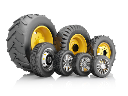 Set of tires for a different vehicles isolated on a white background. 3d illustration