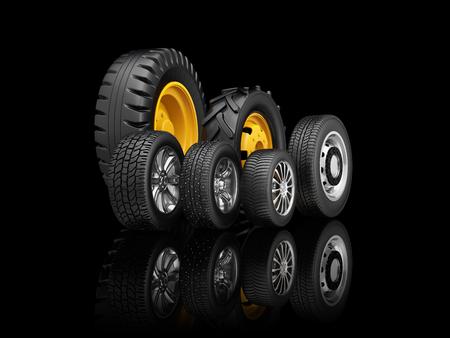 Set banden voor een andere voertuigen die op een zwarte achtergrond staan. 3d illustratie