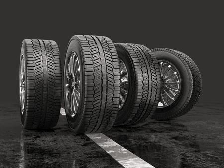 Vier autobanden rollen op een weg op een grijze achtergrond. 3d illustratie. Stockfoto