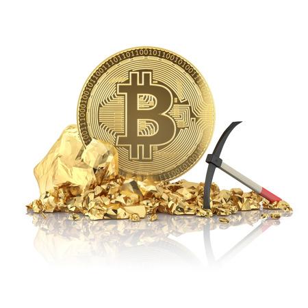 Bitcoin die op een gouden steen met houweel staat voor het delven van cryptocurrency. 3D illustratie op een witte achtergrond.