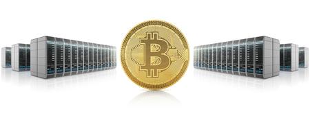 サーバー ファームの背景に金色の bitcoin、cryptocurrency の採掘。3 D イラスト。