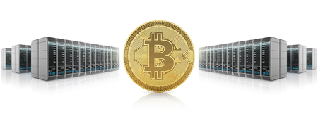 Golden bitcoin on server farm background, mining of cryptocurrency. 3D illustration.