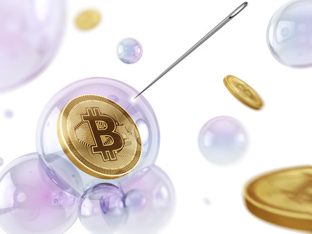 Bitcoin in a soap bubble with needle. 3D illustration.