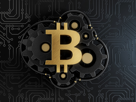 Gold symbol of a bitcoin on a gear wheels on a black printed circuit board background, concept of a cryptocurrency mining. 3d illustration. Фото со стока